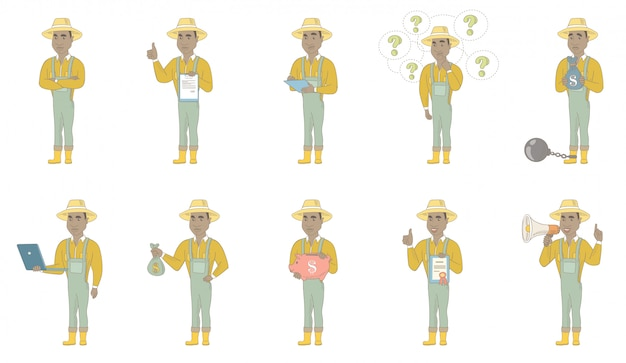 African-american farmer character set
