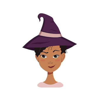 Афроамериканский женский аватар с черными кудрявыми волосами, подозрительными эмоциями, нахмуренным лицом и сжатыми губами в ухмылке, в шляпе ведьмы. хеллоуин персонаж в костюме