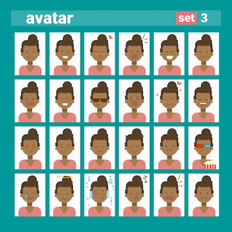 African american female different emotion set profile avatar, woman cartoon portrait face collection