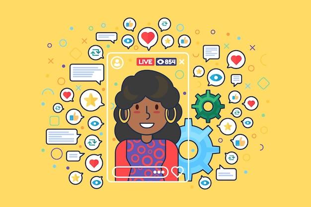 アフリカ系アメリカ人女性ストリーマーフラットカラーベクトル文字。 instagramの物語。女の子のブロガーは、webグラフィックデザインのライブストリーム分離漫画イラストを撮影します