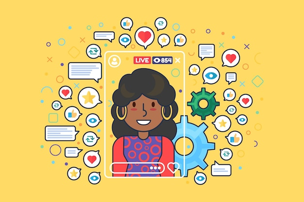 African american female streamer flat color vector character. instagram story. girl blogger shoots live stream isolated cartoon illustration for web graphic design