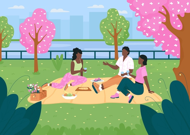 African american friend group on picnic flat color illustration