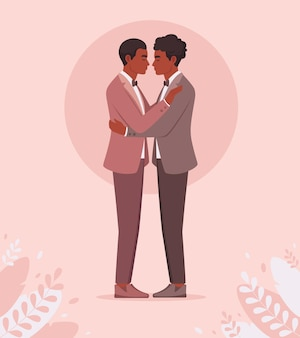 아프리카 계 미국인 게이 커플 게이 결혼식 lgbt와 자부심 개념