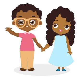 아프리카계 미국인 소녀와 안경을 쓴 젊은 아프리카계 미국인 소년. 플랫 만화 스타일입니다.