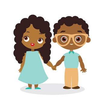 아프리카계 미국인 소녀와 안경을 쓴 젊은 아프리카계 미국인 소년. 벡터 일러스트 레이 션 eps 10 흰색 배경에 고립입니다. 플랫 만화 스타일입니다.