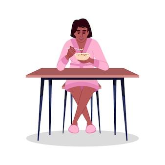 곡물 반 평면 rgb 색상 벡터 일러스트 레이 션을 먹는 아프리카 계 미국인 소녀. 건강하고 맛있는 아침 식사. 흰색 바탕에 우유로 분리된 만화 캐릭터와 함께 뮤즐리를 즐기는 젊은 여성