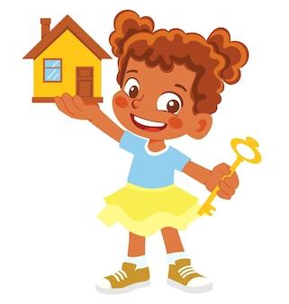 Афро-американская девочка держит дом и ключ