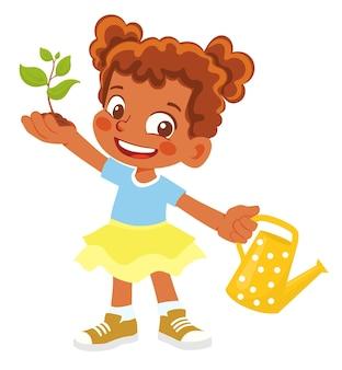 Афро-американская девочка держит росток и лейку