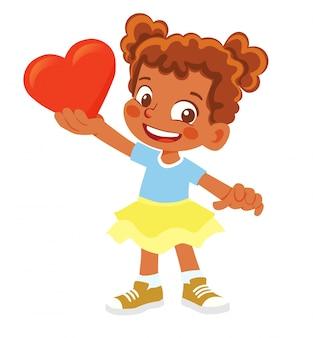 Афро-американская девушка держит сердце. молодой улыбающийся персонаж держит красное сердце.