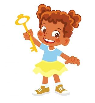 Афро-американская девушка держит ключ. идея или концепция решения