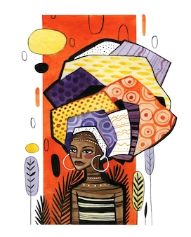 Афро-американская девушка на фоне оранжевой вертикальной полосы