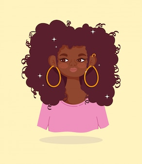 アフリカ系アメリカ人の少女の肖像画美しい漫画キャラベクトルイラスト