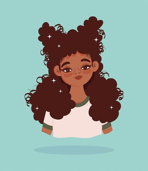 アフリカ系アメリカ人の少女の肖像画漫画キャラベクトルイラスト