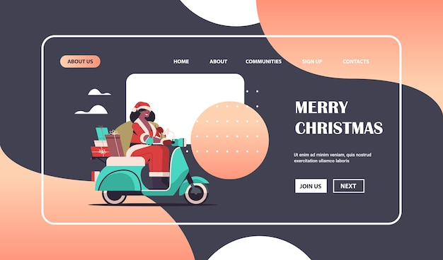 African american girl in santa claus costume delivering gifts on scooter merry christmas new year holiday celebration concept horizontal full length copy space vector illustration