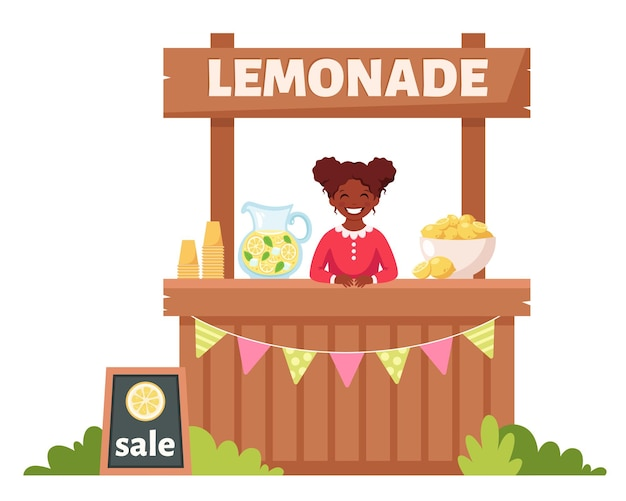 레모네이드 스탠드에서 차가운 레모네이드를 판매하는 아프리카 계 미국인 소녀