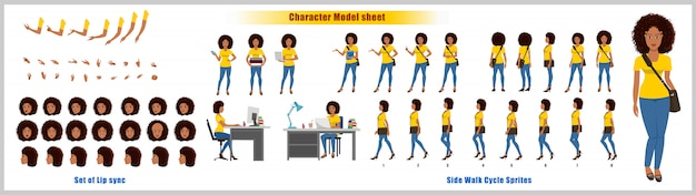 アフリカ系アメリカ人の女の子学生キャラクターデザインモデルシートと歩行サイクルのアニメーション。女の子キャラクターデザイン。正面、側面、背面、説明のアニメーションのポーズ。リップシンク付きの文字セット