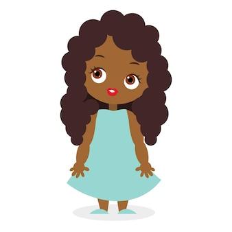 아프리카계 미국인 소녀. 벡터 일러스트 레이 션 eps 10 흰색 배경에 고립입니다. 플랫 만화 스타일입니다.