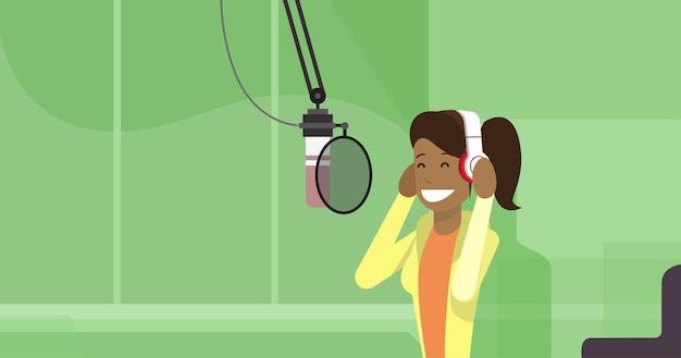 African american girl wear headphones
