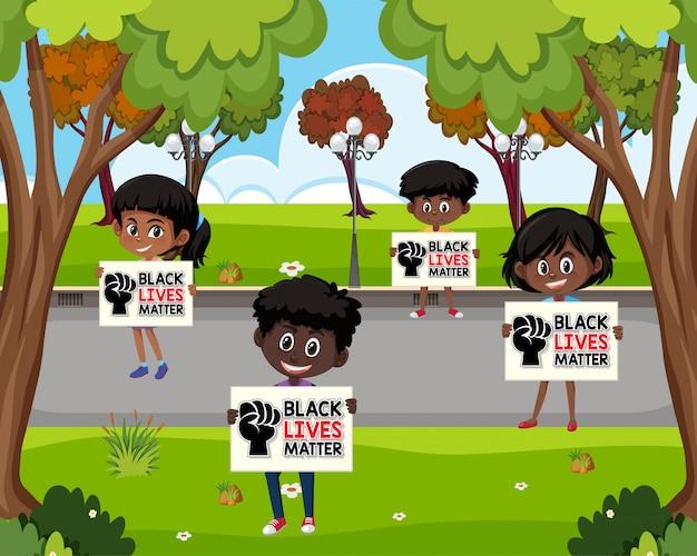 아프리카 계 미국인 지주 블랙 생활 문제 기호