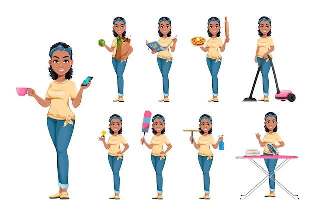 아홉 포즈의 아프리카계 미국인 주부 가사 일을 하는 아름다운 아가씨 만화 캐릭터