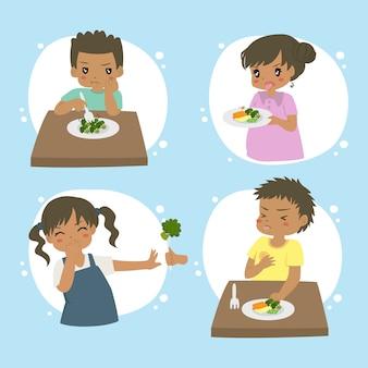 African american kids refuse to eat vegetables, cartoon set