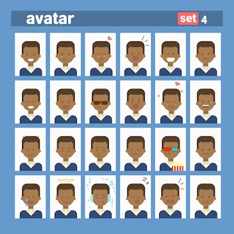 African american male different emotion set profile avatar, man cartoon portrait face collection