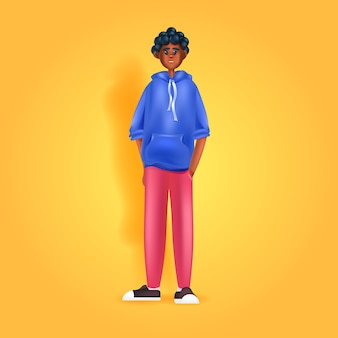 African american man in casual clothes male cartoon character full length