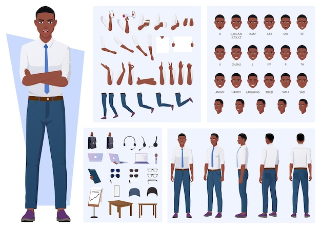 African american man character creation with gestures, facial expressions, and different poses