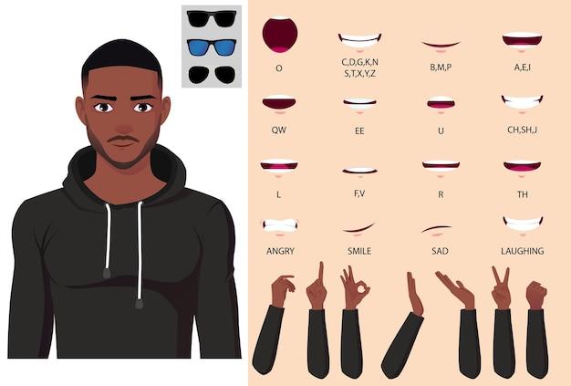 パーカーのキャラクターの顔のアニメーション、リップシンクと手のジェスチャーパックのベクトルでアフリカ系アメリカ人の男