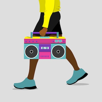 African american man is walking with  tape recorder in his hand. vector illustration.