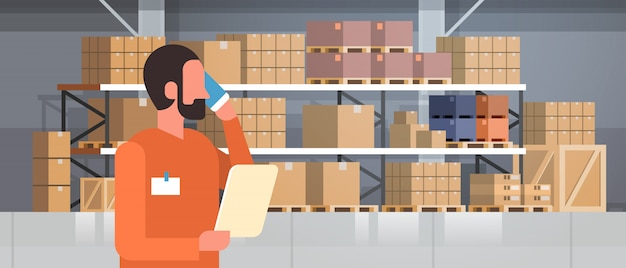 African american man loader phone calling pallet warehouse interior, rack box international delivery concept flat portrait horizontal