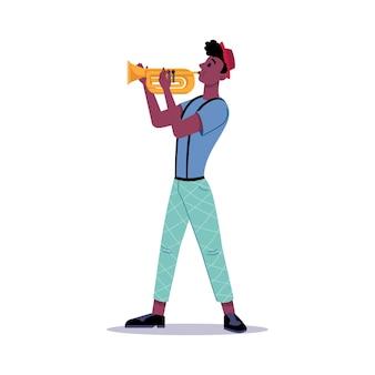 트럼펫 고립된 벡터 음악가나 음악가가 재즈를 연주하는 아프리카계 미국인 남자