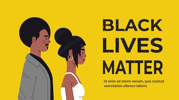 African american man woman against racial discrimination black lives matter concept social problems of racism horizontal portrait copy space vector illustration