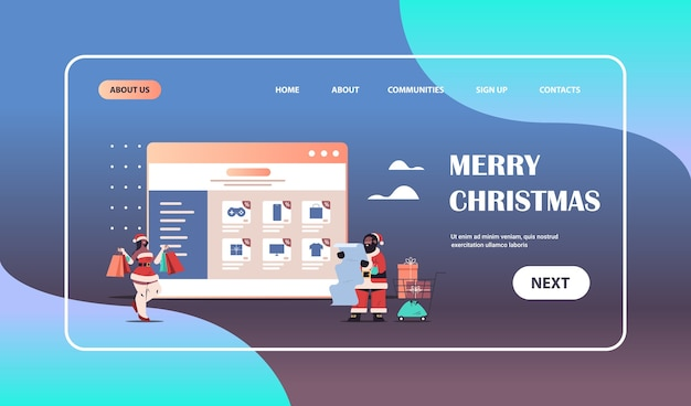 African american man woman in santa claus costumes choosing purchases in web browser window online shopping new year merry christmas holidays concept full length horizontal copy space vector illustrat