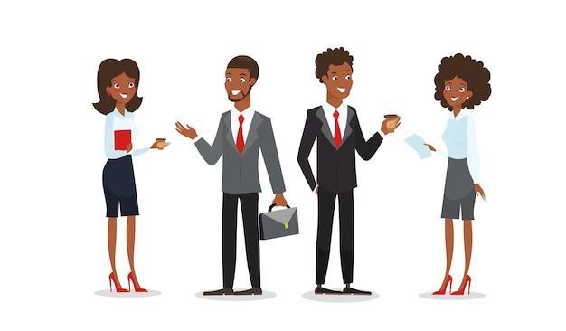ビジネス服を着たアフリカ系アメリカ人の男性と女性が一緒に話します。黒のビジネスキャラクター
