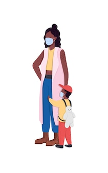 アフリカ系アメリカ人の母と息子のマスクを身に着けているフラットカラーイラスト