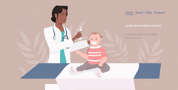 African american pediatrician or otolaryngologist checking baby ear with otoscope medical consultation medicine healthcare concept horizontal copy space