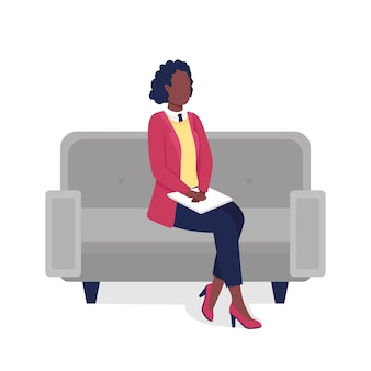 African american professional woman flat color faceless character