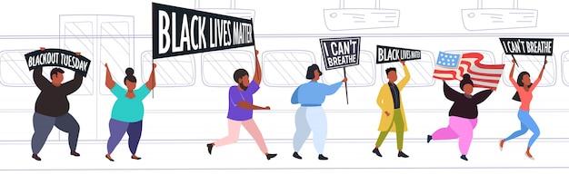 인종 차별에 항의하는 흑인 생활 문제 배너와 아프리카 계 미국인 시위대