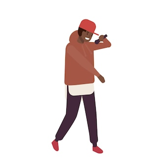 African american r n b vocalist wearing cap performing on stage. rapper or hip-hop mc with microphone. male cartoon character singing song. young soloist or singer. flat cartoon vector illustration.