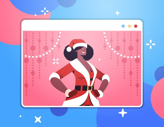 ウェブブラウザウィンドウでアフリカ系アメリカ人のサンタの女性新年あけましておめでとうございますメリークリスマスの休日のお祝い自己分離の概念水平肖像画ベクトル