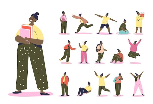 아프리카계 미국인 10대 소녀의 생활 방식: 배낭을 메고 책을 들고 점프하고 놀고, 흰색 배경 위에 피곤하고 행복하게 걷는 만화 흑인 여학생. 평면 벡터 일러스트 레이 션