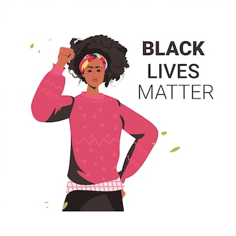 African american woman against racial discrimination black lives matter concept social problems of racism