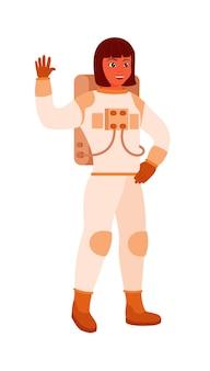 白い背景の上のアフリカ系アメリカ人女性宇宙飛行士