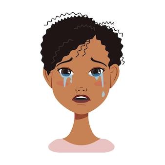 다른 감정 매력적인 만화 c와 검은 머리를 가진 아프리카계 미국인 여자 아바타 얼굴 아이콘...