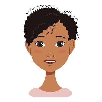 African american woman avatar face icon with black hair with different emotions attractive cartoon c...