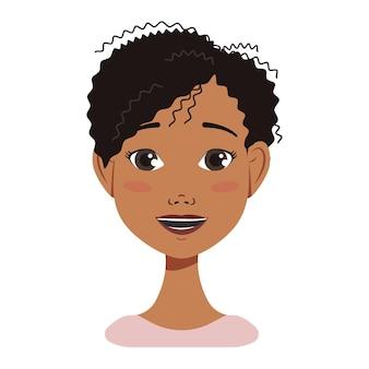 다른 감정을 가진 검은 머리를 가진 아프리카계 미국인 여자 아바타 얼굴 아이콘