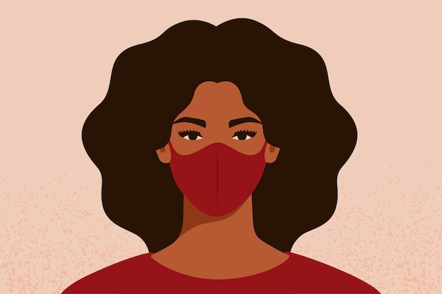 코로나바이러스와 대기 오염으로부터 보호하기 위해 얼굴 마스크를 통해 호흡하는 아프리카계 미국인 여성