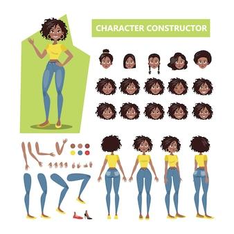 さまざまなビュー、ヘアスタイル、感情、ポーズ、ジェスチャーでアニメーション用のアフリカ系アメリカ人の女性キャラクターセット。図