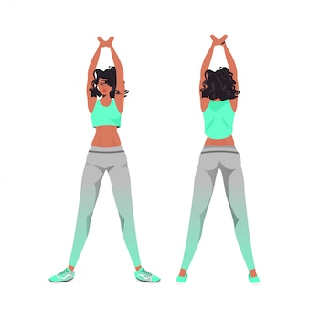 Афроамериканец женщина делает фитнес упражнения йога тренировка концепция здорового образа жизни девушка разработка спереди назад вид изолированных полная длина иллюстрации